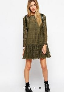 ASOS PETITE Shift Dress in Broiderie Size 2